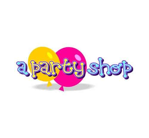 fun, playful logo design for a party shop