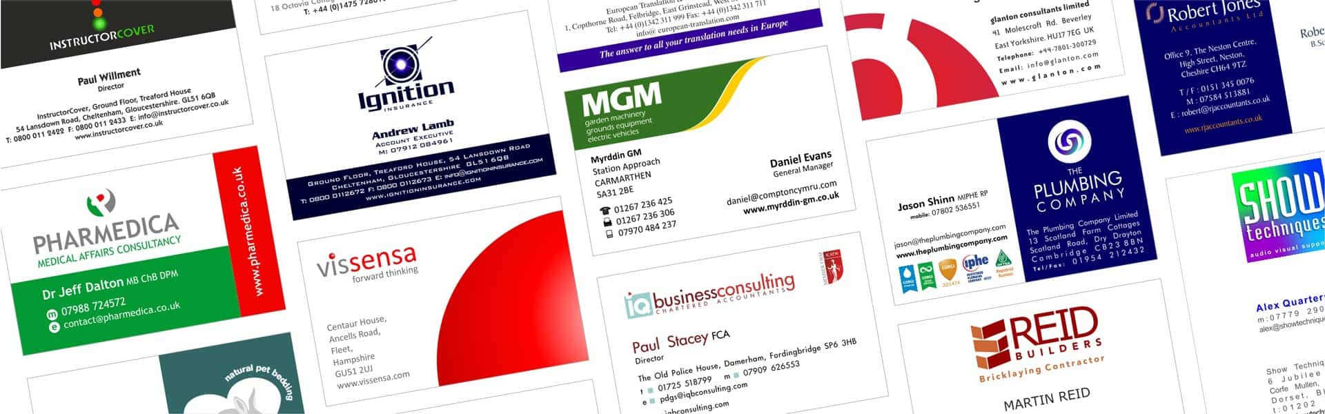 Examples of single sided business cards designed by Logopro